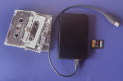 Cassette, sdcard and external hard disk Royalty Free Stock Photography