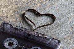Cassette sonore avec amour d'abrégé sur bande magnétique de coeur Photos stock