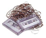 Cassette sonore avec l'embrouillement de bande image stock
