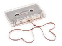 Cassette sonore avec la bande magnétique dans la forme des coeurs Image stock