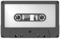 Cassette sonore blanche de blanc noir avec l'autocollant et le label photos libres de droits