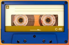 Cassette sonore bleue et jaune avec l'autocollant et le label image stock