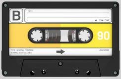 Cassette sonore jaune, blanche et noire avec l'autocollant et le label images libres de droits