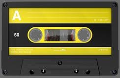 Cassette sonore jaune et noire avec l'autocollant et le label images libres de droits