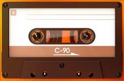 Cassette sonore noire avec l'autocollant et le label photographie stock libre de droits