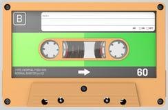 Cassette sonore orange avec l'autocollant et le label image libre de droits