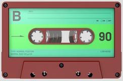 Cassette sonore rouge et verte avec l'autocollant et le label image libre de droits