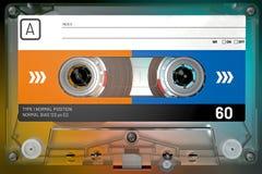 Cassette sonore transparente, bleue et orange avec l'autocollant et le label images stock