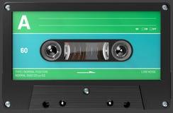 Cassette sonore verte, bleue et noire avec l'autocollant et le label photographie stock