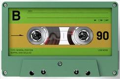 Cassette sonore verte et jaune avec l'autocollant et le label photos libres de droits