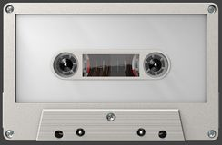 Cassette sonore vide blanche avec l'autocollant et le label image stock