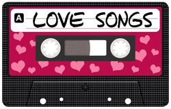 Cassette tape. Illustrated isolated Valentine Day retro audio cassette tape royalty free illustration