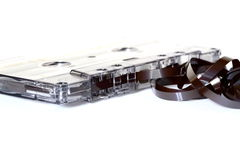 Cassette tape. Photograph of cassette tape unwound royalty free stock photo