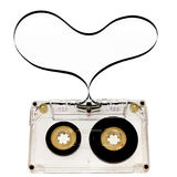 Cassette Tape. A cassette tape with magnetic tape forms a heart shape Royalty Free Stock Photography