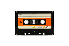 Cassette tape. Closeup cassette tape isolate on white background Stock Photos