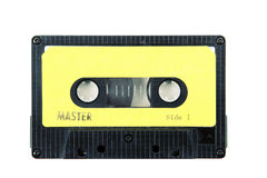 Cassette tape. With a blank label royalty free stock photos