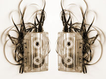 Cassette tape. In a mess royalty free stock images