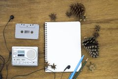 Cassette tape audio player and blank paper vintage still life Stock Photo