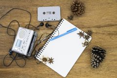 Cassette tape audio player and blank paper vintage still life Royalty Free Stock Photos