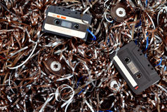 Cassette and tape background Royalty Free Stock Photos