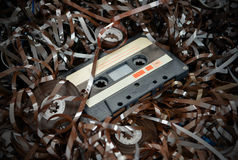 Cassette and tape background Royalty Free Stock Image