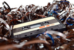 Cassette and tape background Stock Images