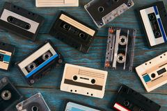Cassette tape background, top view stock images
