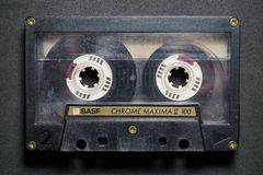 Cassette tape. Basf music analog magnetic audio recording compact technology retro pedry royalty free stock images