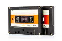 Cassette tape. Closeup cassette tape isolate on white background royalty free stock photo