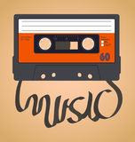 Cassette Tape Collection. Audio cassette tape which with the film forms the word music vector illustration