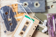 Cassette tape and earphone Stock Photography