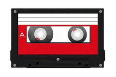 Cassette tape illustration with blank red label Stock Photos