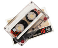 Cassette tape isolated on white background. Cassette tape isolated on a white stock photos
