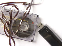 Cassette tape and mp3 Stock Image