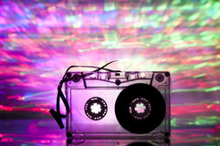 Cassette tape and multicolored lights Royalty Free Stock Images