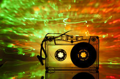 Cassette tape and multicolored lights Stock Image