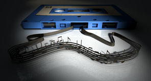 Cassette Tape And Musical Notes Concept Stock Photos