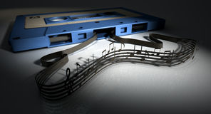 Cassette Tape And Musical Notes Concept Stock Photography