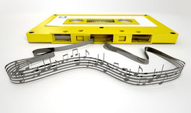 Cassette Tape And Musical Notes Concept Stock Image