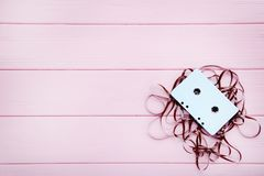 Cassette tape. On pink background stock photography