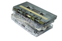 Cassette tape recorder stacking on white background. Cassette tape recorder stacking on the white background Stock Photo