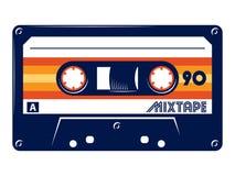Retro vintage cassette tape vector illustration on white background. Cassette tape Retro vintage mixtape vector illustration on isolated white background stock illustration