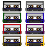 Cassette tape - set of vector icons Stock Image
