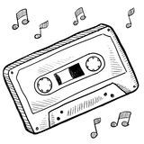 Cassette tape sketch. Doodle style cassette tape vector illustration Stock Photo