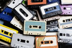 Cassette tape vintage style collection stock photos