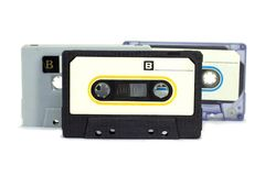 Cassette tape on white background, analog music player in 1960.  royalty free stock images