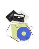 Cassette tapes and compact disc CD. Royalty Free Stock Photos