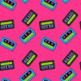 Cassette tapes floating seamless pattern. Authentic design for digital and print media vector illustration