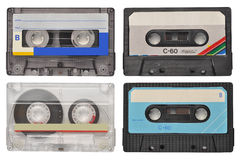 Cassette tapes. Four retro cassette tapes isolated on white Stock Photos