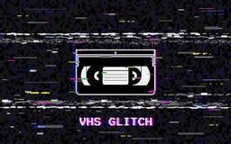 Cassette vidéo de problème Déformations horizontales blanches abstraites Concept de VHS Lignes bruit de Glitched Rétro fond 80s illustration de vecteur